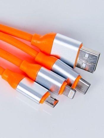Smart Fit Oryginalny Kabel 3 w 1 MICRO ,LIGHTNING ,USB-C 120 cm pomarańczowy