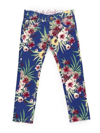 Spodnie dla dziewczynki z egzotycznym nadrukiem granatowe