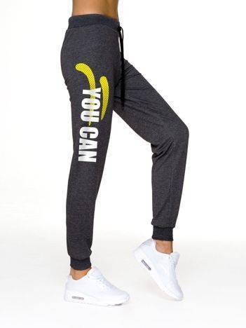 Spodnie dresowe fitness z napisem YOU CAN grafitowe