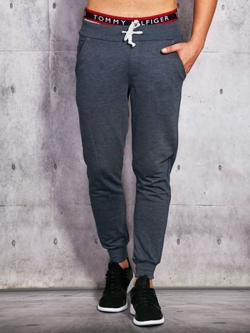 Spodnie dresowe męskie granatowe z troczkami