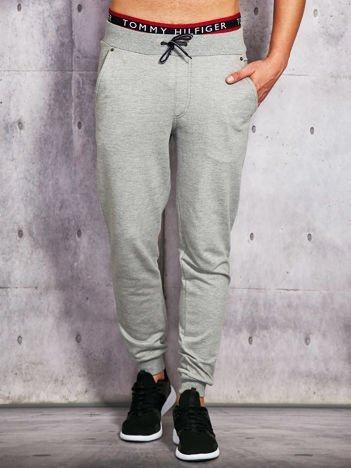 Spodnie dresowe męskie szare z troczkami