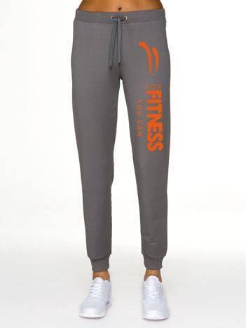 Spodnie dresowe z kontrastowym napisem sportowym szare