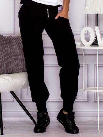 Spodnie dresowe z ozdobnym suwakiem czarne