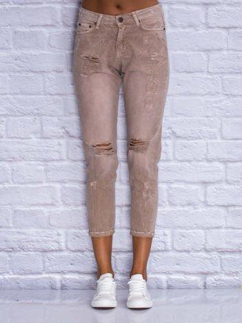 Spodnie jeansowe boyfriend beżowe