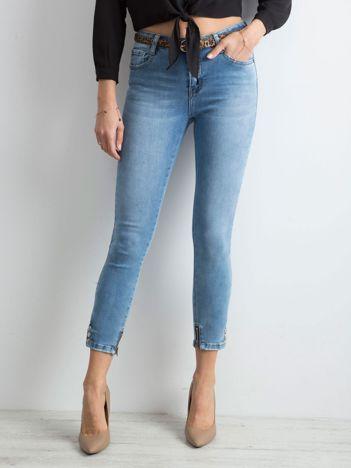 Spodnie jeansowe skinny z suwakami niebieskie