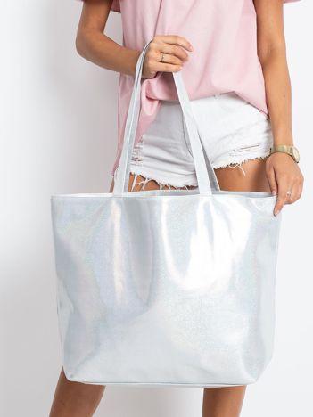 Srebrna duża torba damska