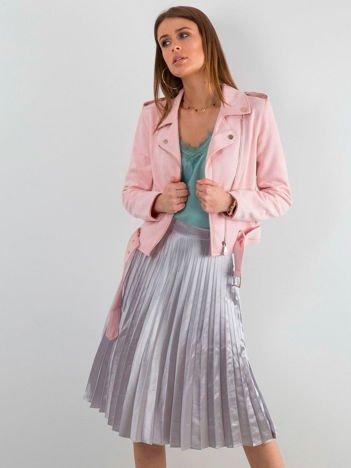 Srebrna plisowana spódnica midi