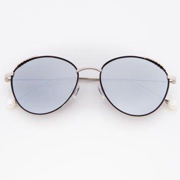 Srebrne Damskie Okulary Słoneczne Lustrzane Z PERŁAMI Na Zausznikach