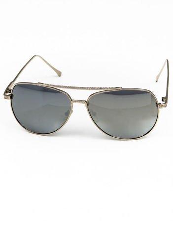 Srebrne okulary w stylu PILOTKI AVIATORY lustrzanka