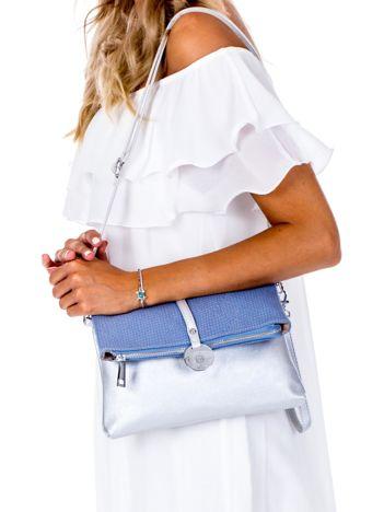 Srebrno-niebieska miękka torebka z odpinanym paskiem