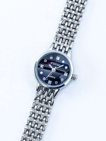 Srebrny delikatny zegarek damski na bransolecie