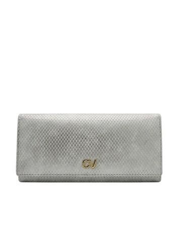 Srebrny podłużny portfel ze skóry ekologicznej