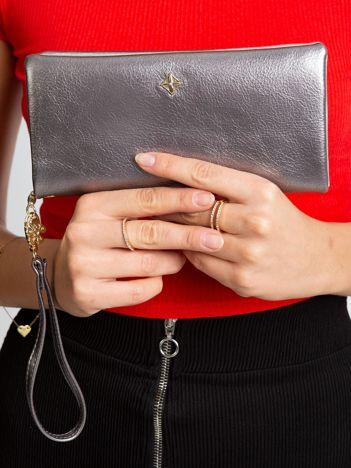 Srebrny portfel damski z eko skóry