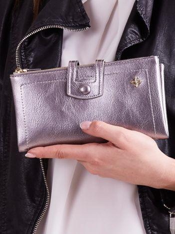 Srebrny portfel damski z zapięciem