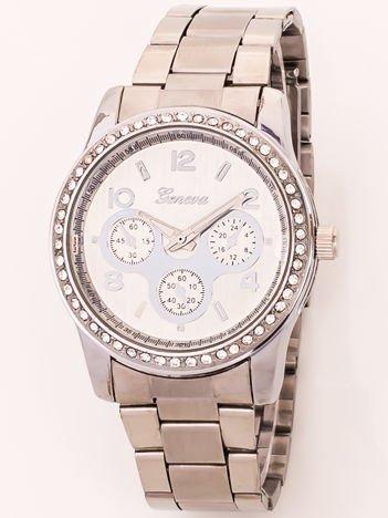Srebrny zegarek damski z cyrkoniami na kopercie