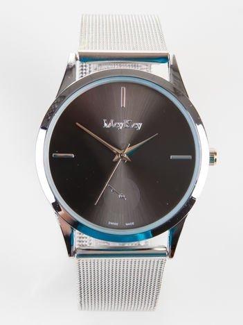 Srebrny zegarek damski z czarną tarczą na bransolecie MESH