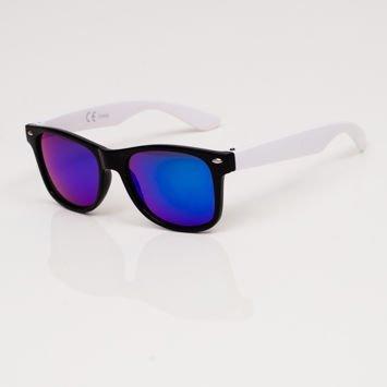 Stylowe biało-czarne okulary przeciwsłoneczne dziecięce z klasyczną oprawką typu WAYFARER NERD LUSTRZANKI
