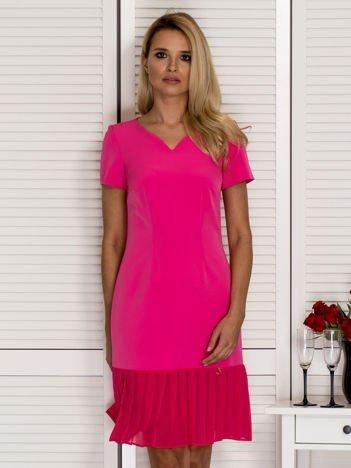 Sukienka V-neck z falbanką różowa
