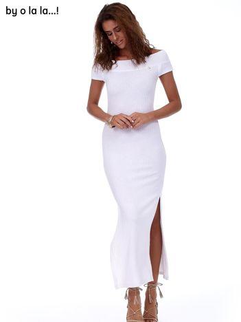 Sukienka biała maxi w prążek BY O LA LA
