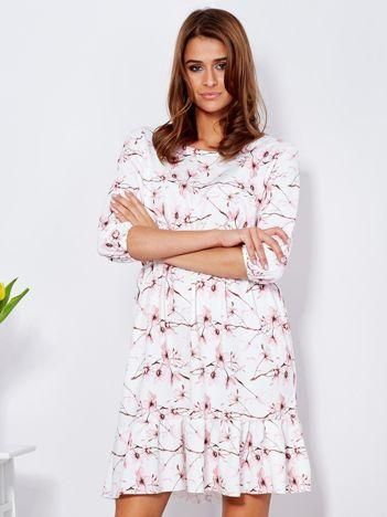 Sukienka biała w delikatny kwiatowy wzór