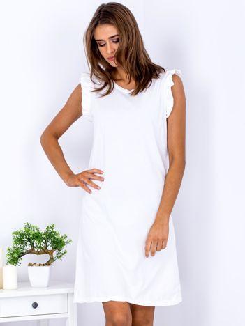 Sukienka biała z falbankami na ramionach