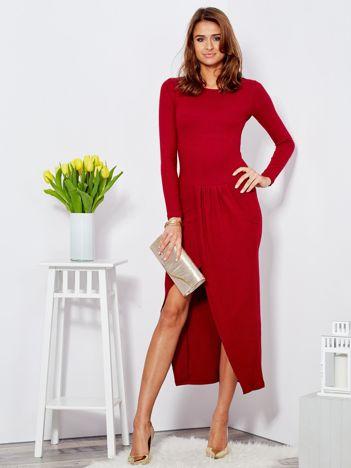 Sukienka bordowa z drapowaniem