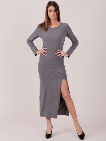 Sukienka ciemnoszara maxi z rozcięciem