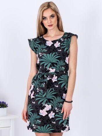 Sukienka ciemnoszara w roślinne motywy