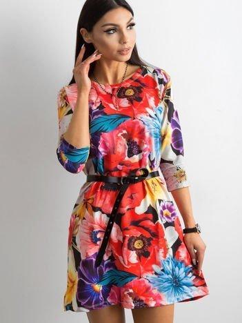 Sukienka czarna w kolorowe kwiaty