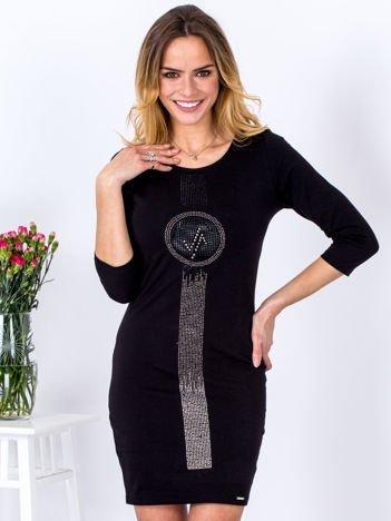 Sukienka czarna z pionową aplikacją