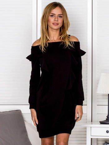 Sukienka damska cut out z falbanami czarna
