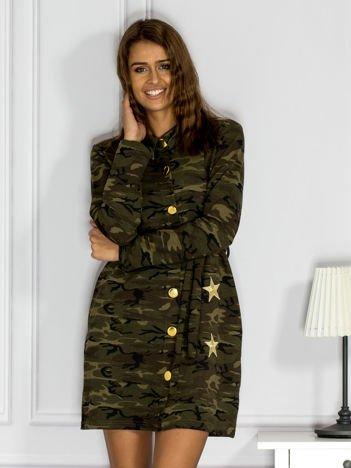 Sukienka damska moro z naszywkami zielona