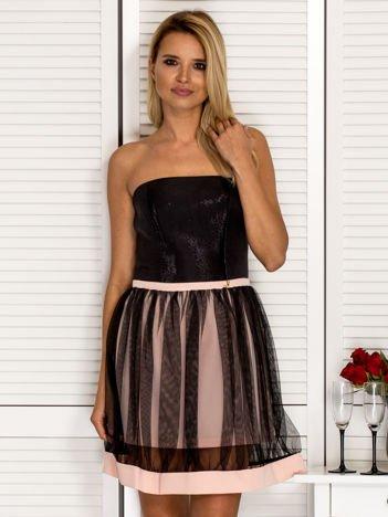 Sukienka damska z tiulową spódnicą beżowa