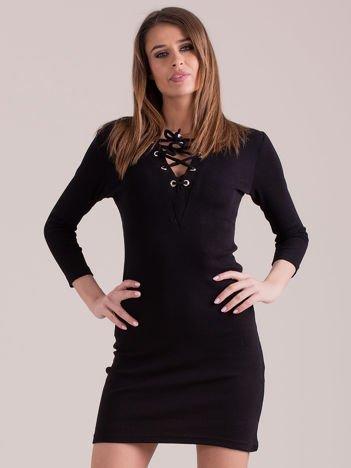 Sukienka dopasowana lace up czarna