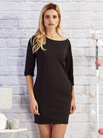 Sukienka dresowa z kieszeniami czarna