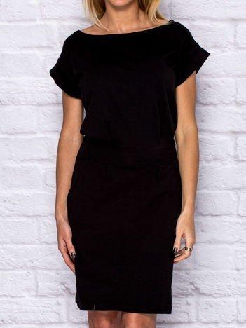 Sukienka dresowa z wiązaniem czarna