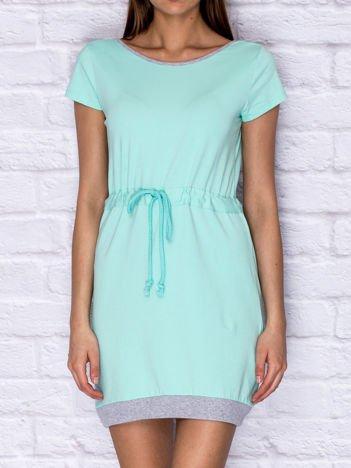Sukienka dresowa ze ściągaczem miętowa