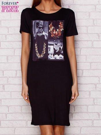 Sukienka dzienna z nadrukiem Audrey Hepburn czarna