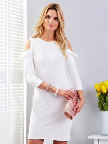Sukienka ecru prążkowana cold arms