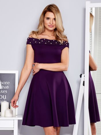 Sukienka fioletowa z perełkami
