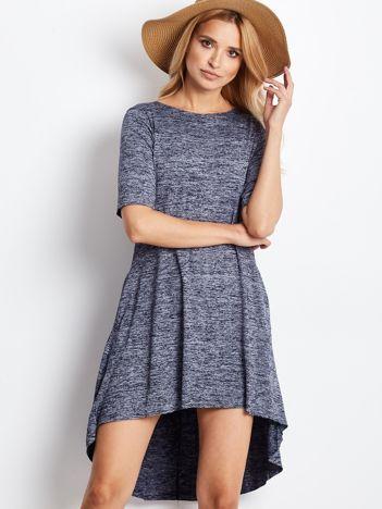Sukienka granatowa z dłuższym tyłem