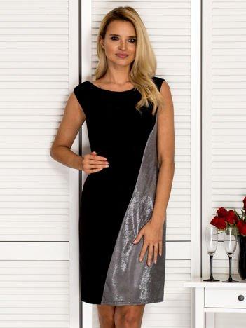 Sukienka koktajlowa z drapowaniem srebrna