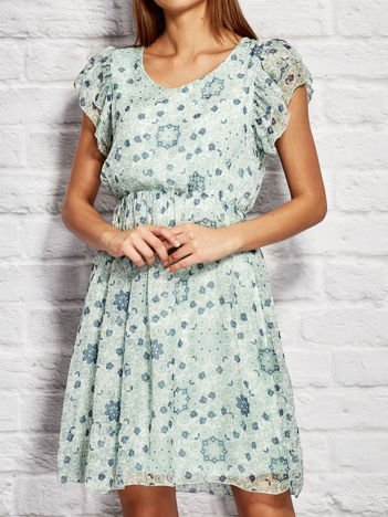 Sukienka koktajlowa z motywem floral print miętowa