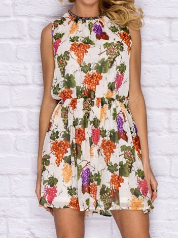 Sukienka koktajlowa z motywem winogron fioletowa