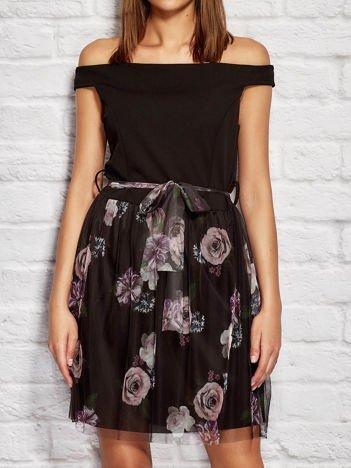 Sukienka koktajlowa z tiulową spódnicą czarna