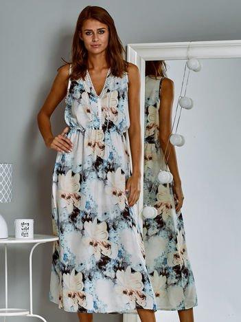 Sukienka letnia maxi z kwiatowym wzorem ecru