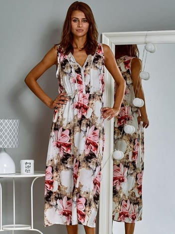 Sukienka letnia maxi z kwiatowym wzorem różowa