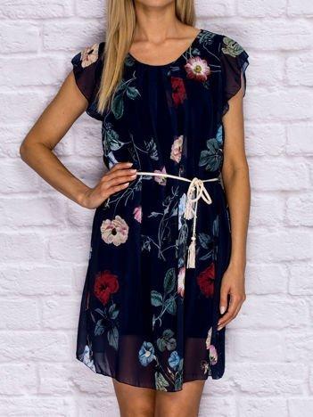 Sukienka letnia w kwiaty z wiązaniem granatowa
