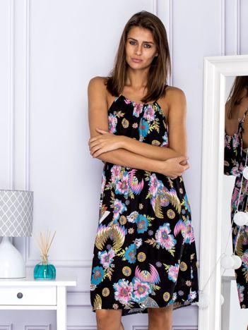 Sukienka letnia z kwiatowym motywem i wiązaniem czarna