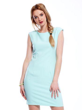 Sukienka miętowa z wiązaniem z tyłu